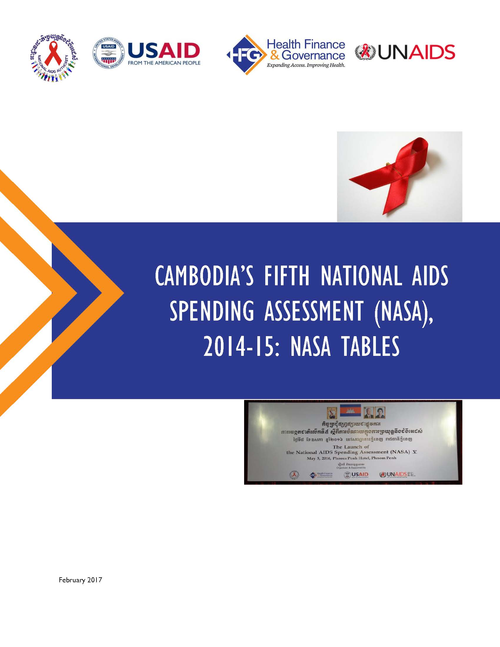 Cambodia fifth National AIDS Spending Assessment (NASA), 2014-15: NASA tables